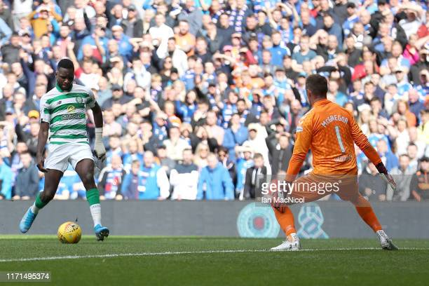 Odsonne Edouard of Celtic scores his team's first goal during the Ladbrokes Premiership match between Rangers and Celtic at Ibrox Stadium on...