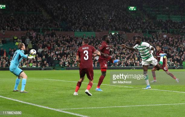 Odsonne Edouard of Celtic scores his team's first goal during the UEFA Europa League group E match between Celtic FC and CFR Cluj at Celtic Park on...
