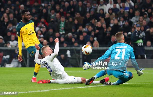 Odsonne Edouard of Celtic scores his team's first goal during the UEFA Europa League round of 32 first leg match between FC Kobenhavn and Celtic FC...