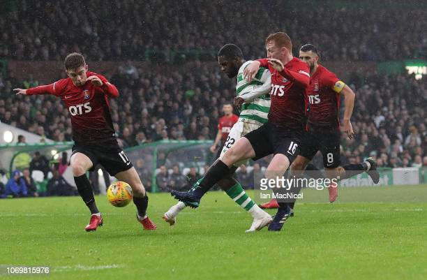 Odsonne Edouard of Celtic scores his team's second goal during the Scottish Ladbrokes Premiership match Celtic and Kilmarnock at Celtic Park Stadium...