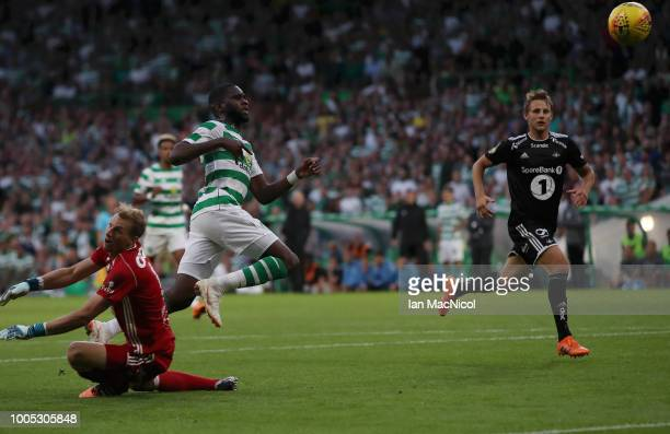 Odsonne Edouard of Celtic scores his team's third goal during the first leg UEFA Champions League Qualifier match between Celtic and Rosenborg at...