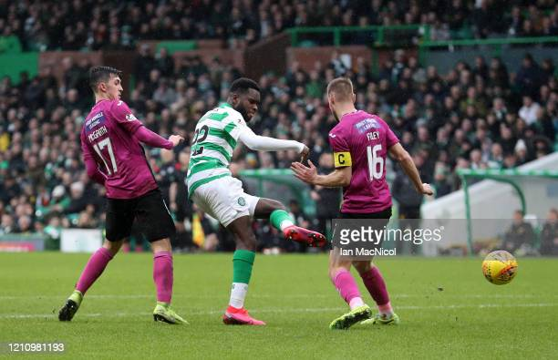Odsonne Edouard of Celtic scores his team's third goal during the Ladbrokes Premiership match between Celtic and St. Mirren at Celtic Park on March...