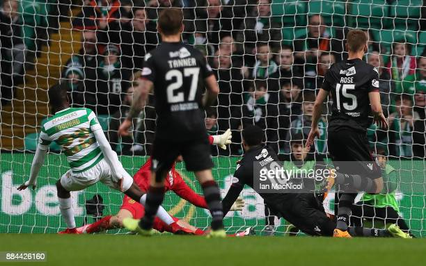 Odsonne Edouard of Celtic scores the opening goal during the Ladbrokes Scottish Premiership match between Celtic and Motherwell at Celtic Park on...