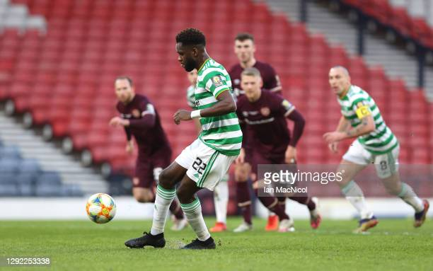 Odsonne Edouard of Celtic scores their sides second goal from the penalty spot during the William Hill Scottish Cup final match between Celtic and...