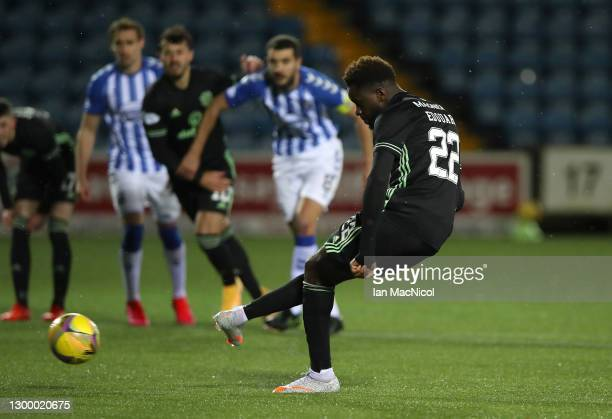 Odsonne Edouard of Celtic scores their side's second goal from the penalty spot during the Ladbrokes Scottish Premiership match between Kilmarnock...