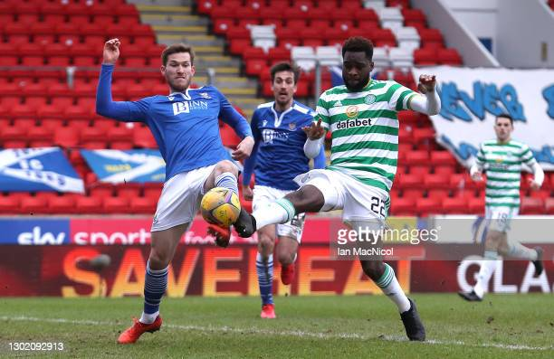 Odsonne Edouard of Celtic scores their team's first goal during the Ladbrokes Scottish Premiership match between St. Johnstone and Celtic at...