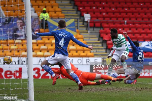 Odsonne Edouard of Celtic scores their team's second goal during the Ladbrokes Scottish Premiership match between St. Johnstone and Celtic at...