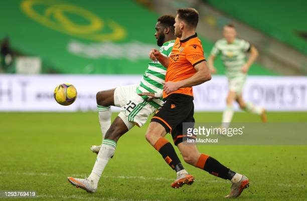 Odsonne Edouard of Celtic scores their team's third goal during the Ladbrokes Scottish Premiership match between Celtic and Dundee United at Celtic...