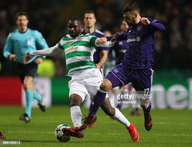Odsonne Edouard of Celtic vies with Massimo Bruno of RSC Anderlecht during the UEFA Champions League group B match between Celtic FC and RSC...