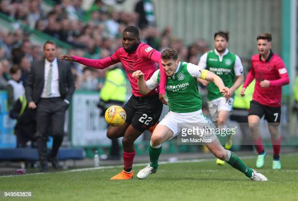 Odsonne Edouard of Celtic vies with Paul Hanlon of Hibernian during the Ladbrokes Scottish Premiership match between Hibernian and Celtic at Easter...
