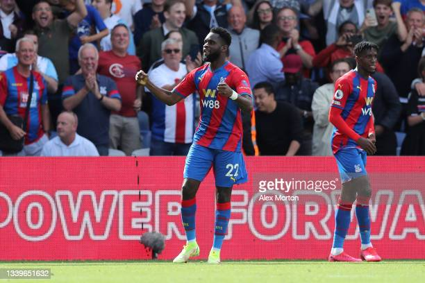 Odsonne Edouard of Crystal Palace celebrates after scoring their side's second goal during the Premier League match between Crystal Palace and...
