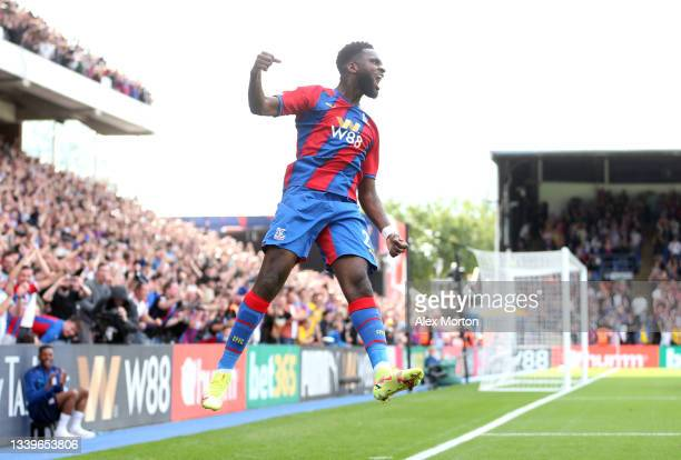 Odsonne Edouard of Crystal Palace celebrates after scoring their side's third goal during the Premier League match between Crystal Palace and...