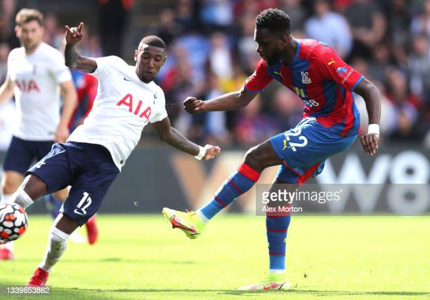 Odsonne Edouard of Crystal Palace scores their side's third goal during the Premier League match between Crystal Palace and Tottenham Hotspur at...