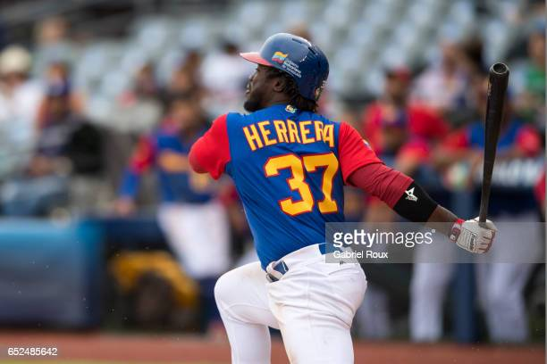 Odubel Herrera of Team Venezuela bats during Game 3 of Pool D of the 2017 World Baseball Classic against Team Italy on Saturday March 11 2017 at...
