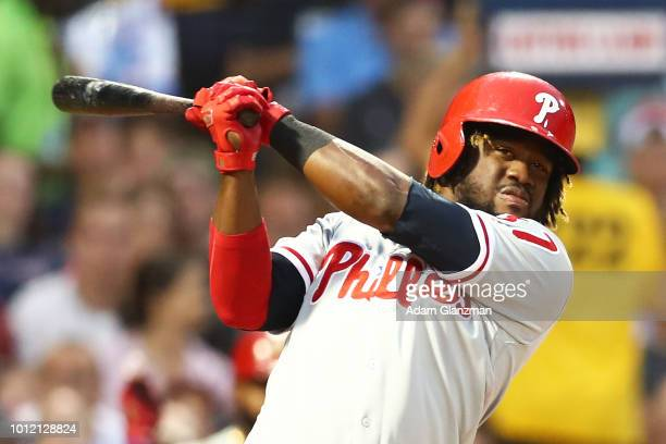 Odubel Herrera of the Philadelphia Phillies bats during a game against the Boston Red Sox at Fenway Park on July 30 2018 in Boston Massachusetts