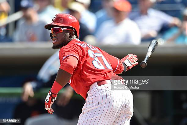 Odubel Herrera of the Philadelphia Phillies bats during a spring training game against the Detroit Tigers at Bright House Field on March 10 2016 in...