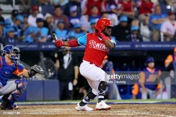 Odubel Herrera of the Philadelphia Phillies bats during the 2018 Little League Classic against the New York Mets at Historic Bowman Field on Sunday...