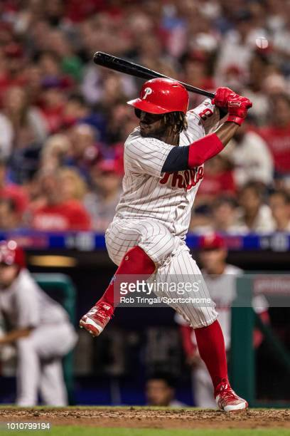 Odubel Herrera of the Philadelphia Phillies bats during the game against the Los Angeles Dodgers at Citizens Bank Park on Tuesday July 24 2018 in...