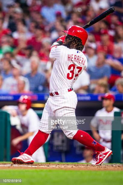 Odubel Herrera of the Philadelphia Phillies bats during the game against the Boston Red Sox at Citizens Bank Park on Wednesday August 15 2018 in...