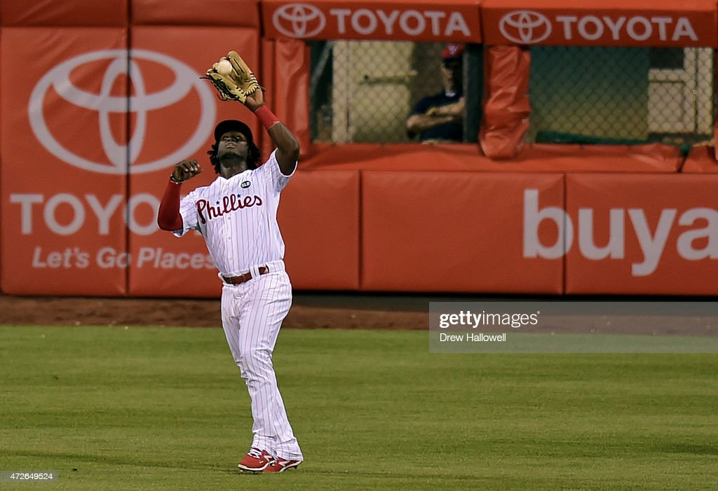 Odubel Herrera #37 of the Philadelphia Phillies catches a fly ball in the seventh inning against the New York Mets at Citizens Bank Park on May 8, 2015 in Philadelphia, Pennsylvania. The Phillies won 3-1.