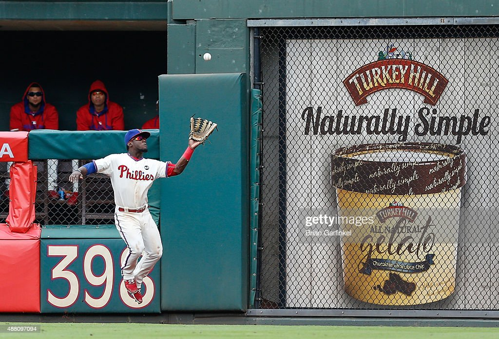 Odubel Herrera #37 of the Philadelphia Phillies catches a long fly ball hit by Kyle Schwarber #12 of the Chicago Cubs in the fifth inning of the game at Citizens Bank Park on September 13, 2015 in Philadelphia, Pennsylvania. The Phillies won 7-4.