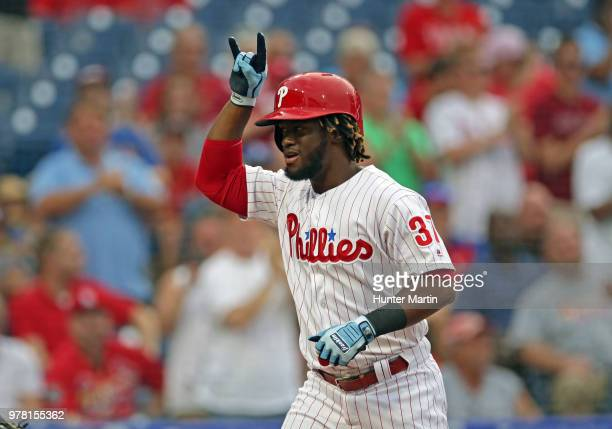 Odubel Herrera of the Philadelphia Phillies celebrates after hitting a threerun home run in the first inning during a game against the St Louis...