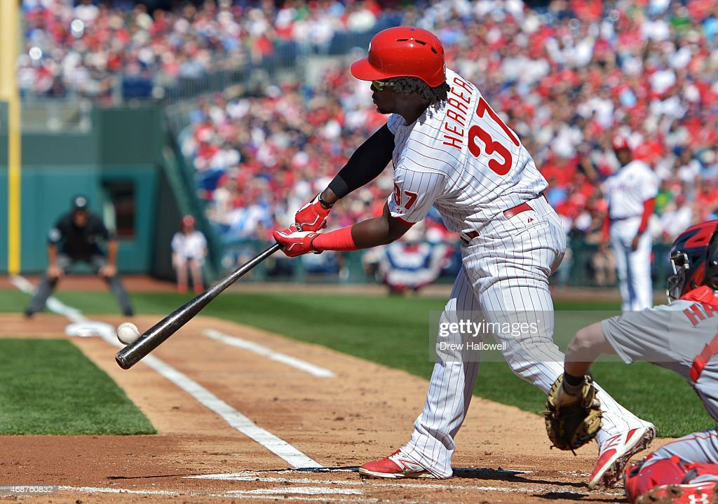 Odubel Herrera #37 of the Philadelphia Phillies flies out in the first inning against the Boston Red Sox during Opening Day at Citizens Bank Park on April 6, 2015 in Philadelphia, Pennsylvania.