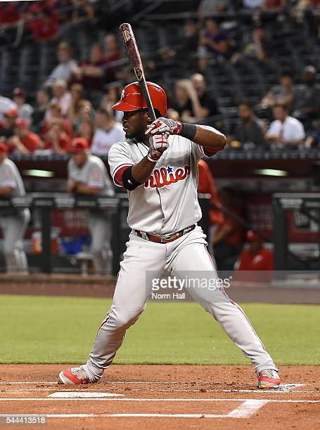Odubel Herrera of the Philadelphia Phillies gets ready in the batters box against the Arizona Diamondbacks at Chase Field on June 28 2016 in Phoenix...