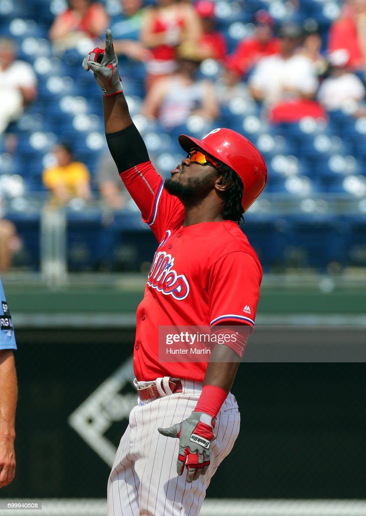 Odubel Herrera #37 of the Philadelphia Phillies gives thanks to God after doubling in the eighth inning during a game against the St. Louis Cardinals at Citizens Bank Park on June 22, 2017 in Philadelphia, Pennsylvania. The Phillies won 5-1.