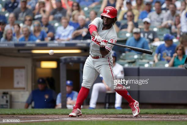 Odubel Herrera of the Philadelphia Phillies grounds out in the first inning against the Milwaukee Brewers at Miller Park on June 16 2018 in Milwaukee...