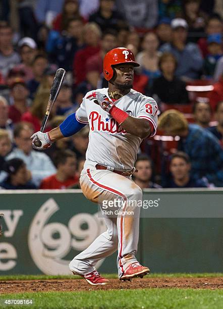 Odubel Herrera of the Philadelphia Phillies grounds out to first against the Boston Red Sox during the third inning at Fenway Park on September 4...