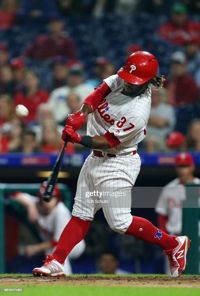 Odubel Herrera #37 of the Philadelphia Phillies hits a double against the Atlanta Braves during the eighth inning of a game at Citizens Bank Park on May 22, 2018 in Philadelphia, Pennsylvania. The Braves defeated the Phillies 3-1.