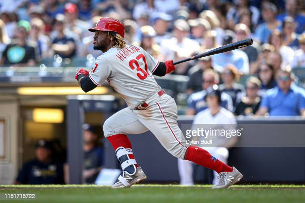 Odubel Herrera of the Philadelphia Phillies hits a double in the fourth inning against the Milwaukee Brewers at Miller Park on May 25 2019 in...