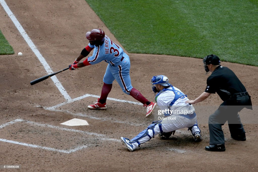 Odubel Herrera #37 of the Philadelphia Phillies hits a ground rule double in the fifth inning against the Milwaukee Brewers at Miller Park on July 16, 2017 in Milwaukee, Wisconsin.