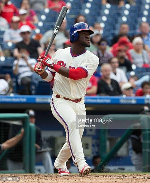 Odubel Herrera of the Philadelphia Phillies hits a solo home run in the bottom of the third inning against the Miami Marlins at Citizens Bank Park on...