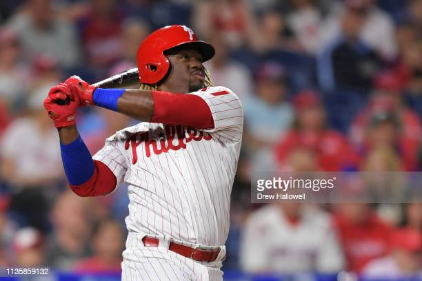 Odubel Herrera of the Philadelphia Phillies hits a two run home run in the fourth inning against the Washington Nationals of the Philadelphia...