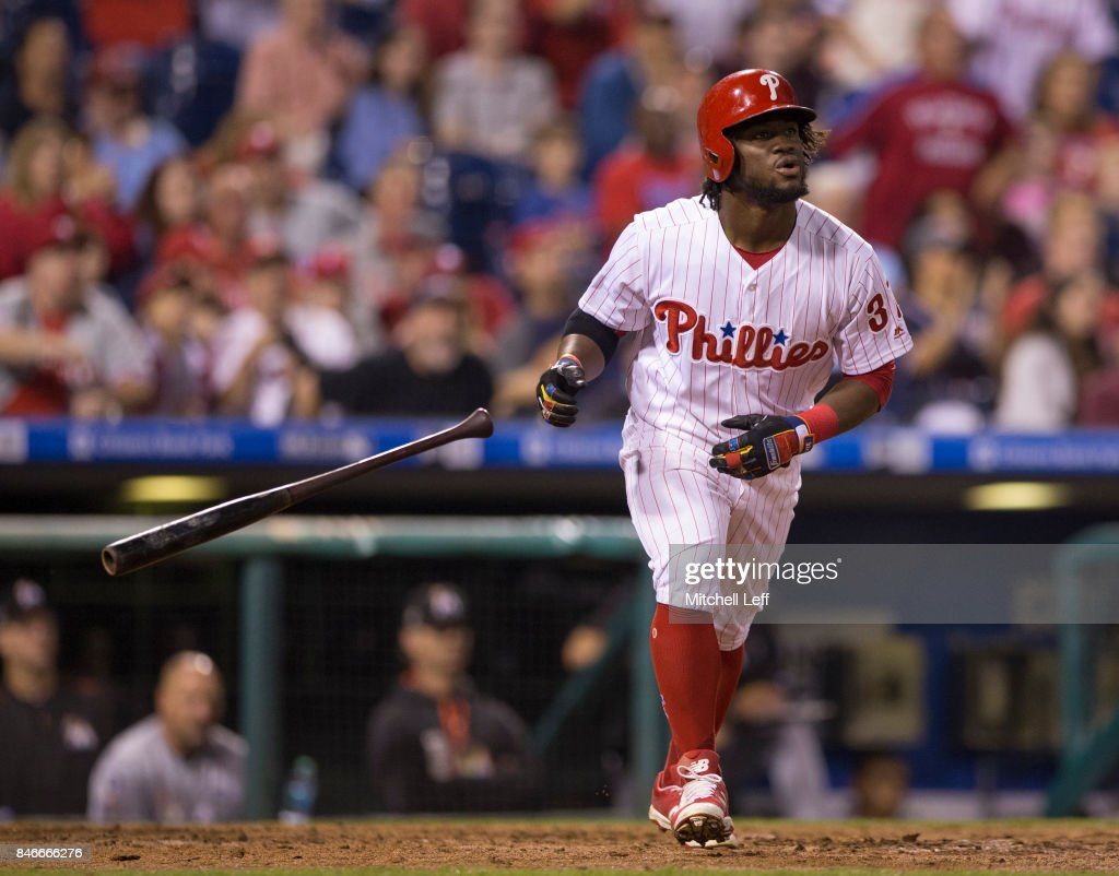 Odubel Herrera #37 of the Philadelphia Phillies hits a two run home run in the bottom of the sixth inning against the Miami Marlins at Citizens Bank Park on September 13, 2017 in Philadelphia, Pennsylvania. The Phillies defeated the Marlins 8-1.