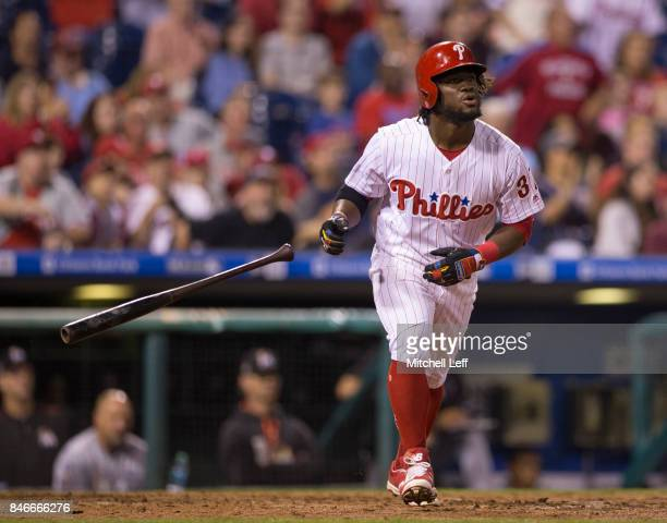 Odubel Herrera of the Philadelphia Phillies hits a two run home run in the bottom of the sixth inning against the Miami Marlins at Citizens Bank Park...