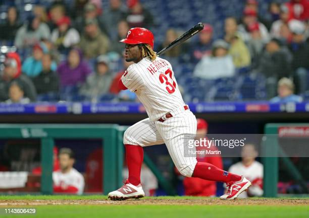 Odubel Herrera of the Philadelphia Phillies hits a tworun double in the seventh inning during a game against the Milwaukee Brewers at Citizens Bank...