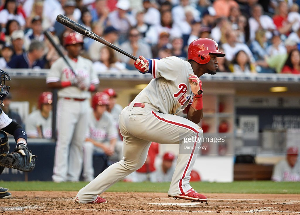 Odubel Herrera #37 of the Philadelphia Phillies hits an RBI single during the third inning of a baseball game against the San Diego Padres at Petco Park August 8, 2015 in San Diego, California.