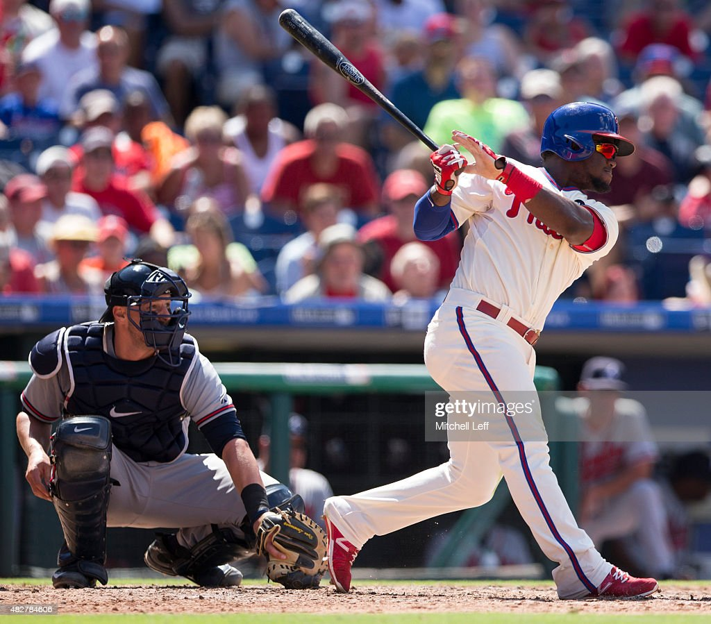Odubel Herrera #37 of the Philadelphia Phillies hits an RBI single in the bottom of the fifth inning against the Atlanta Braves on August 2, 2015 at the Citizens Bank Park in Philadelphia, Pennsylvania. The Braves defeated the Phillies 6-2.