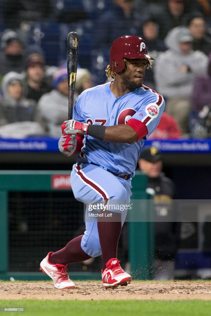 Odubel Herrera #37 of the Philadelphia Phillies hits an RBI single in the bottom of the fifth inning against the Pittsburgh Pirates at Citizens Bank Park on April 19, 2018 in Philadelphia, Pennsylvania. The Phillies defeated the Pirates 7-0.