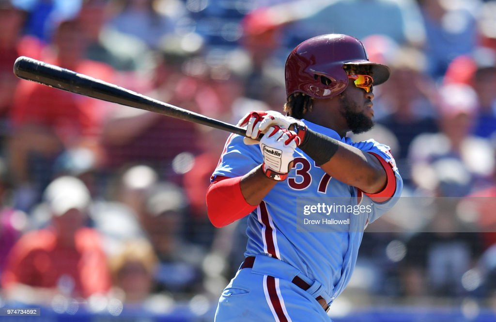 Odubel Herrera #37 of the Philadelphia Phillies hits an RBI single in the seventh inning against the Colorado Rockies at Citizens Bank Park on June 14, 2018 in Philadelphia, Pennsylvania.