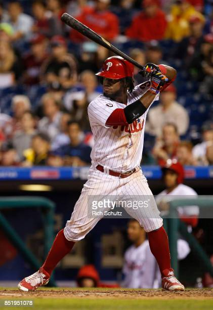 Odubel Herrera of the Philadelphia Phillies in action against the Los Angeles Dodgers during a game at Citizens Bank Park on September 19 2017 in...