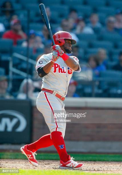 Odubel Herrera of the Philadelphia Phillies in action against the New York Mets at Citi Field on September 4 2017 in the Flushing neighborhood of the...
