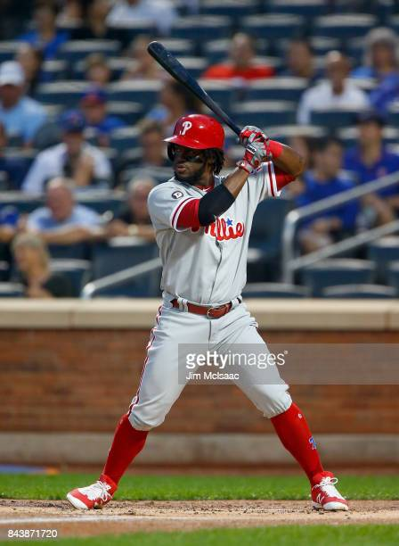 Odubel Herrera of the Philadelphia Phillies in action against the New York Mets at Citi Field on September 5 2017 in the Flushing neighborhood of the...