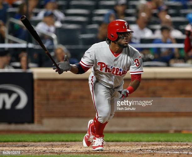 Odubel Herrera of the Philadelphia Phillies in action against the New York Mets during a game at Citi Field on September 5 2017 in the Flushing...