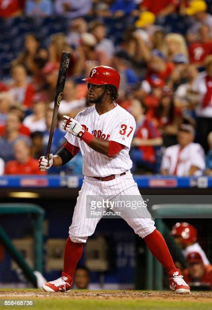 Odubel Herrera of the Philadelphia Phillies in action against the Washington Nationals during a game at Citizens Bank Park on September 26 2017 in...