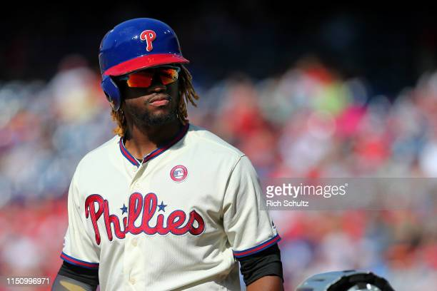 Odubel Herrera of the Philadelphia Phillies in action during a game against the Colorado Rockies at Citizens Bank Park on May 18 2019 in Philadelphia...