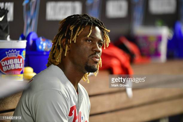 Odubel Herrera of the Philadelphia Phillies in the dugout during the game against the Miami Marlins at Marlins Park on April 14 2019 in Miami Florida